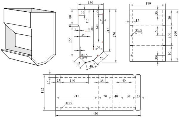 Schema de pâlnie și recipient dimensiuni