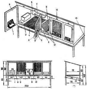 Conducerea celule dispozitiv pentru doi iepuri 1 - jgheaburi de basculare (din tablă de oțel); 2 - lichior (lemn); 3 - rampă, în cazul în care iepurii se odihnească ...