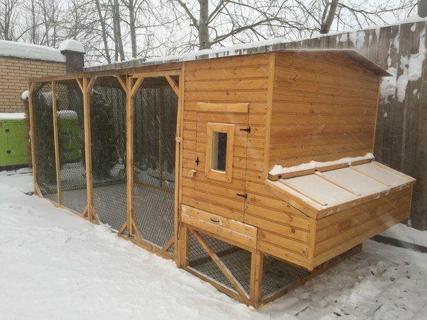 Lemn casa de iarnă găină cu o extensie pentru mersul pe jos