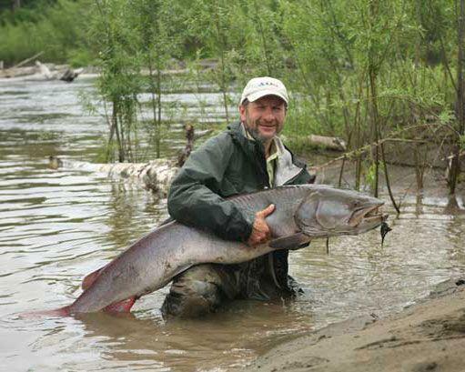 Rybár drží pstruh